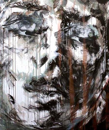 """""""Night Owl"""" Akryyli ja pastelliliitu kankaalle,150x120, 2016"""